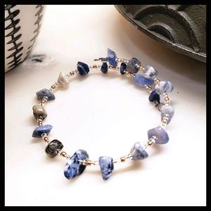 Sodalite Gemstone Bangle w/ Rose Gold Glass Beads